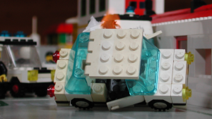 A Legoda car burns in Marino