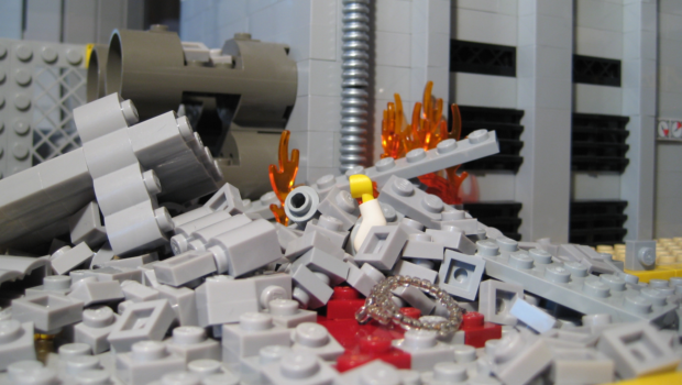 The suspected blow-out on one of the plant's turbine-generator interchanges killed 2 minifigs.