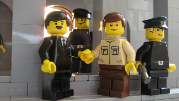 Perhaps most disturbingly, the minifig is shown missing a hand, believed to have been severed by his captors.