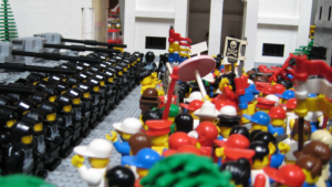 Ironically the minifig rights movement of 2009 which strove for improved rights for immigrants was put down by the immigrant-based Blacktron security force which now finds itself prime target of the cleaning purge.